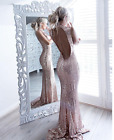 """""""Brody"""" Rose Gold Mesh Chain Backless Gown Maxi Dress 6-12 New Bloggers"""