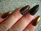 Hand Painted False Nails Full Cover Press on Nails Amber Colour Shift Matte Blac