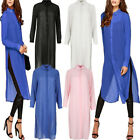 New Fashion Women Casual Shirts Dress Chiffon T Shirt Plain Tops Blouse Sundress