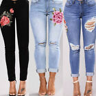 UK Womens Celeb Stretch Skinny Ripped Frayed Ladies High Waist Denim Pants Jeans