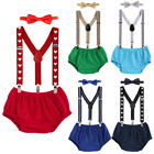 Baby Boy 1st Birthday Potography Y-back Clip-on Suspenders Pants Bow Tie Outfit