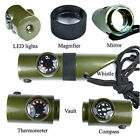 7 in 1 Camping Survival Whistle Compass Thermometer Magnifier lashlight Fire