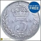 1902 TO 1910 EDWARD VII SILVER THREE PENCES 3D CHOICE OF YEAR / DATE