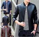 Fashion Mens Stand Collar Leather Jacket Slim Fit Motorcycle Outerwears Coat Top