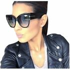Designer Fashion Oversized Big Cat Eye Tom Womens Black Sunglasses