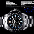Mens water resistant watch 100m  316 steel strap sapphire glass led light lumino