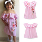 Toddler Kids Baby Girls Embroidery Off-shoulder Dress Princess Holiday Casual