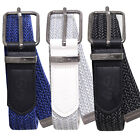 Crosshatch Mens Odsall Designer PU Leather Braided Metal Buckle Fashion Belt