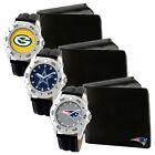NFL Football Team Game Time Black Leather Watch Bifold Wallet Set MTO