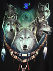 Glow In The Dark Five White Wolf Brecelet T-Shirt Black Shortsleeve 100% cotton