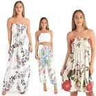 Women Floral Print Bandeau Strapless Sharing Ladies Sleeveless Casual Maxi Dress