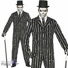 *Mens Skeleton Bone Print Pin Striped Suit Halloween Fancy Dress Costume Outfit*