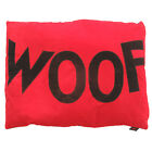 Creature Clothes-Dog Doza Bed-Chocolate 'WOOF'/Red-Made in UK-Large 86x107cms