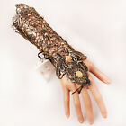 Wedding Bridal Gold Pearl Lace Wrist Cuffs Fingerless Arm Wrist Gloves with Ring