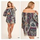 Umgee Womens Print Off the Shoulder Dress with Tassel Detail Purple Mix XL New