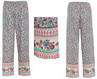 Ladies Jersey Lounge Bottoms Pyjama Pants BOHO Bohemian Floral Elastane STRETCH