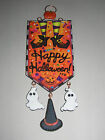 Vtg Img Halloween Witch Legs & Shoes, Ghosts, Hat Glitter Wood Slice Ornament