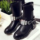 Womens Rhinestone Rivets Round Toe Motorcycle Short Boots Med Heel Shoes Zipper
