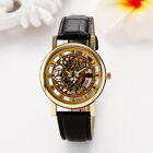 Luxury Men's Skeleton Stainless Steel Transparent Hollow Leather Wrist Watch