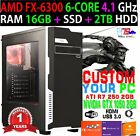Custom Gaming Computer AMD 6-CORE FX-6300 16GB RAM 2TB HDD NIVDIA 1050GTX 2GB