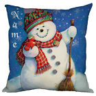 PERSONALISED NAME KIDS SNOWMAN CHRISTMAS GIFT CUSHION UNIQUE XMAS GIFT