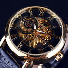 Mens Steampunk Skeleton Stainless Steel Automatic Mechanical Wrist Watch Hot