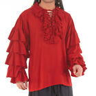 Ruffled Long Sleeves Pirate Shirt Larp Garb Medieval Theater Costume Quality