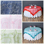 "20 pcs 72x72"" Embroidered Sheer Organza Table Overlay Wedding Catering Linens"