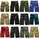 Mens Cotton Summer Army Combat Camo Work Cargo Shorts Pants Trousers Overall US