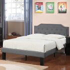 Simple Youth Teen Bedroom Twin Full Bed Frame Blue Grey Headboard Button Tufted