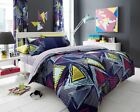Pop Triangle Duvet Cover Set , Quilt Cover with Pillow Case, Black & Blue