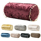 Bolster Crushed Velvet Cushions Ready Filled Cover & Pad Scatter Sofa Pillow