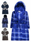 Boys Dressing Gown New Kids Fleece Hooded Winter Bath Robe Ages 7 - 13 Years