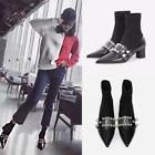 Womens Ankle Boots Leather Pointed Toe Pearls Block Heels Stretchy Shoes Fashion