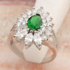 Deluxe Natural Green Emerald 5*7mm Gemstone Silver Ring R2289
