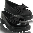 NEW GIRLS KIDS CHUNKY LOW BLOCK BOW LOAFERS PUMPS DOLLY BALLET SCHOOL SHOES SIZE