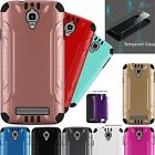 For Coolpad Canvas / Splatter Brushed Phone Case Cover+TEMPERED GLASS Combat