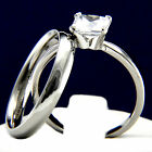 Engagement Ring Stainless Steel Bridal Simulated Diamond Wedding Band Set