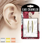PAIR of Curved Square Bar Ear Crawler / Climber 20g Earrings - choose color