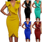 Sexy Women Summer Solid Turquoise Ruffle V Neck Bodycon Tight Wrap Party Dress