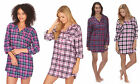Ladies Wincy Winceyette Cotton Nightshirt Check Buttoned Shirt Collar Nightie