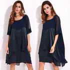 UK 8-22 FLORHO Womens Casual Crew Neck Shirts Cocktail Party Evening Tunic Dress
