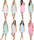 Ladies Nightie 100% JERSEY COTTON Night Dress Low Cut V Neck Soft Lace Bed Sleep