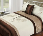 5pc Bed in a Bag - Brown Beige Duvet Cover Faux Satin Silk Complete Bedding Set
