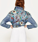 ZARA BASIC JEANS JACKE STICKEREI BLUMEN FLORAL DENIM JACKET EMBROIDERED