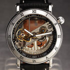 Vintage Mens Clear Skeleton Steampunk Leather Automatic Mechanical Sport Watch