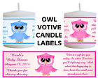 14 OWL BABY SHOWER FAVORS VOTIVE CANDLE LABELS