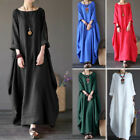Women Crew Neck Loose Casual Solid Cotton &linen Baggy Oversized Long Maxi Dress