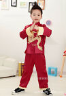 New Chinese Style Boy's Dragon Shirt Pants Suit Red Colour Size 2-16 E0780-2#