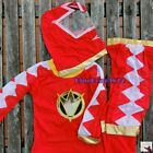 NEW SIZE 2-9 Yrs Boys Kids Hero Red Power Rangers Costume Party Gift 3 Pcs Set